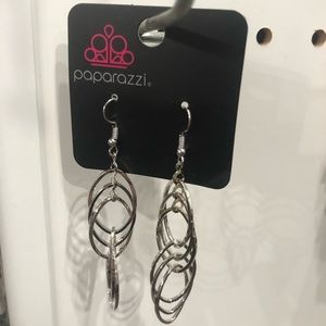 paparazzi Jewelry - Tangle Tango Silver Oval Dangle Earrings Paparazzi